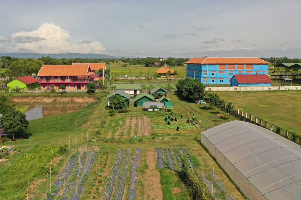 Aerial view of St Francis Private Technical High School in Takeo Province